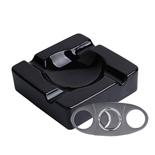 Ceramic Cigar Ashtray Ash Tray – 8.5 inch Cigarette Ashtrays Bundled with Cigar Cutter Stainless Steel – Black Glossy Cigar Rest for Indoor, Outdoor, Patio, Home, Office Use – Cigar Accessories Gift Set for Men and Women