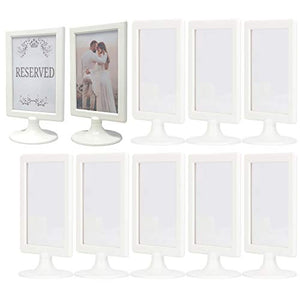 Pedestal Picture Frame Double Sided – (Pack of 10, White) Fits 4x6 Prints - Reversible Vertical Stand or Plastic Tabletop Photo Frame Holder Ideal for Businesses, Home Décor, Centerpieces, Restaurants