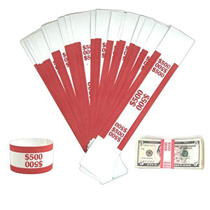Money Bands Currency Sleeves Straps – Made in USA (Pack of 330 - $500) Self-Adhesive Money Wrappers for Bills Color Coded Wraps Meets ABA Standards, 7.5 x 1.25 inches – Counter Recyclable Kraft Pape