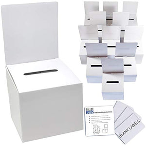 Ballot Box for Suggestions Donations Raffles White Glossy Cardboard Boxes with Removable Header in Medium Size 6x6x6 inches with Slot for Tickets and more (12 Pack)