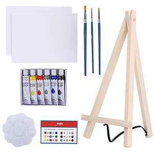 Art Canvas Paint Set Supplies – 14-Piece Mini Canvas Acrylic Painting Kit with Wood Easel, 6x8 inch Canvases, 6 Non Toxic Washable Paints, 3 Brushes, Palette and Color Mixing Guide