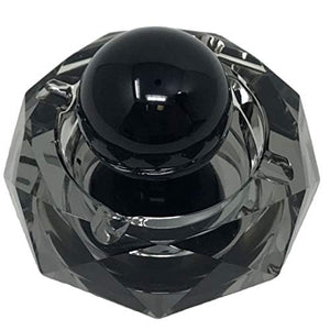 Crystal Ashtray Cigarette Ash Tray – Black Ashtray with Stress Relief Ball for Outdoor, Indoor, Patio, Home, Tabletop, Office Use – 4.25 inch Decorative Cigarette Holder Accessories Gifts