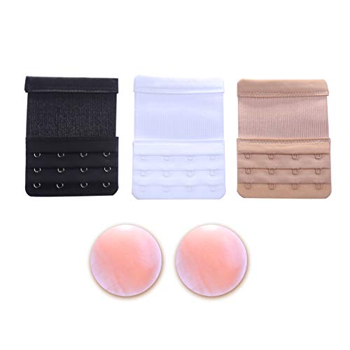 Bra Extender 4 Hook Clip – 3 Pc Set Bundle Nipplecovers Band Back Elastic Strap Extension