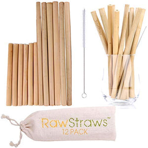 Reusable Bamboo Straws Biodegradable Drinking – 24 Pack with Sizes 8.5 inch and 5.1 inch Eco-Friendly Storage Pouch and Cleaning Brush