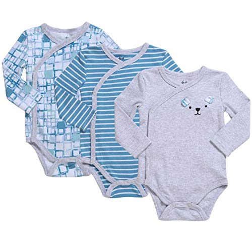 Baby Boy 3-Pack Long-Sleeve Kimono Bodysuit Set, Infant Boy Bundle includes Mini Retro Plaids, Teal Stripes and Gray Heather Outfit