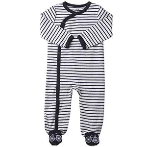 Footed Pajamas Boys Baby Sleepers Side Snap Footies. Cream & Charcoal Stripes