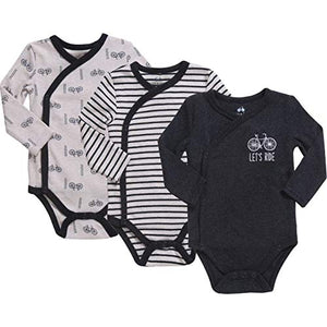 Baby Boy 3-Pack Long-Sleeve Kimono Bodysuit Set, Infant Boy Bundle includes Charcoal Heather, Cream and Charcoal Stripes Outfit