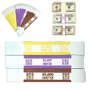 Money Bands Currency Sleeves Straps – Made in USA (Pack of 330) Self-Adhesive Assorted Money Wrappers for Bills Color Coded Wraps Meets ABA Standards, 7.5 x 1.25 inches – Counter Recyclable Kraft Pape