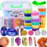 DIY Slime Kit Supplies Kids – Ready Slimes Making Kits Craft for Girls Boys Children –Set Includes Big Box, Glow Powder, Fluffy Slim, Clear Slime, Glitter, Egg Putty Fruit Slices, Fishbowl Foam Beads
