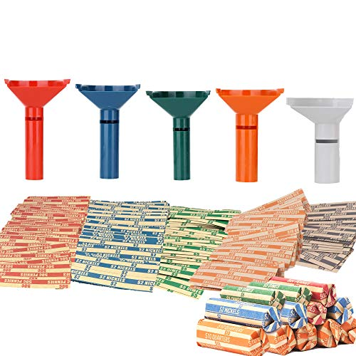 Coin Counters & Coin Sorters Tubes Bundle of 5 Color-Coded Coin Tubes and 110 Assorted Coin Wrappers