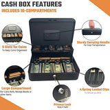 Cash Box with Money Tray and Lock – Safe Money Box Bundle Includes 100 Coin Wrappers – Secure Locking Cash Lock Box for Bills, Coins and Checks, Made by Budgetizer