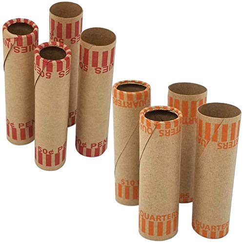 J Mark Burst Resistant Assorted Preformed Coin Roll Wrappers, MADE IN USA, 80-Count Heavy Duty Cartridge-Style Coin Roller Tubes, Includes J Mark Coin Deposit Slip (20 Each P Q N D)