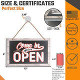 Open Closed Sign for Business – Bundle with 2 Suction Cup, Pull and Push Stickers - Stylish Double-Sided Open Signs for business is the Ideal Hanging Banner for Restaurant Stores Bar Windows or Doors