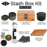 Premium Stash Box Kit with Lock – and Bamboo Wood Rolling Tray Combo, 100 mL Airtight UV Smell Proof Jar, Premium Grinder with Magnetic Lid, Charcoal Bag, 2 Discreet Odorless Resealable Bags