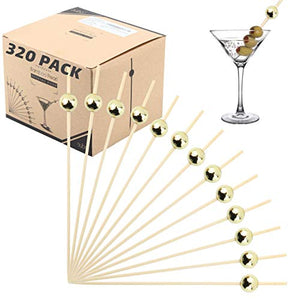Bamboo Cocktail Picks Skewers Toothpicks - 320 Pack Gold Pearl 4.75 inch Wooden Frill Tooth Picks for Appetizer Martini Food Garnish Cocktail Sandwich Fruit Kabobs