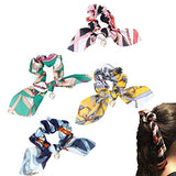 Hair Scarf Scrunchies Ponytail Holder – (4 PACK - CHAINS & PEARLS) Unique Hair Ties Designs to match Different Outfits – Satin Silk Hair Bands for Women