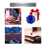 Crystal Ashtray Cigarette Ash Tray – Blue Ashtray with Stress Relief Ball for Outdoor, Indoor, Patio, Home, Tabletop, Office Use – 4.25 inch Decorative Cigarette Holder Accessories Gifts