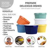 Souffle Dish Ramekins for Baking – 4 Ounce (Set of 6, Assorted Colors with 6 Extra Spoons) 4 Oz, Half Cup Ceramic Oven Safe Round Bowl for Condiment Sauces Dip Dressing Dessert Pudding Custard Cup