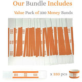 Money Bands Currency Sleeves Straps – Made in USA (Pack of 330 for $50) Self-Adhesive Money Wrappers for Bills Color Coded Wraps Meets ABA Standards, 7.5 x 1.25 inches – Counter Recyclable Kraft Paper
