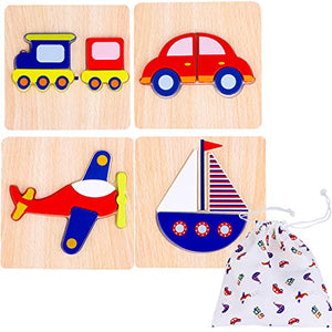 Toddler Wooden Jigsaw Puzzles Chunky – (Pack of 4) Educational Toys for Preschool Kids Ages 1 2 3 year old Boys or Girls Gift with Matching Canvas Bag - Transportation Vehicle Set Learn Colors Shapes
