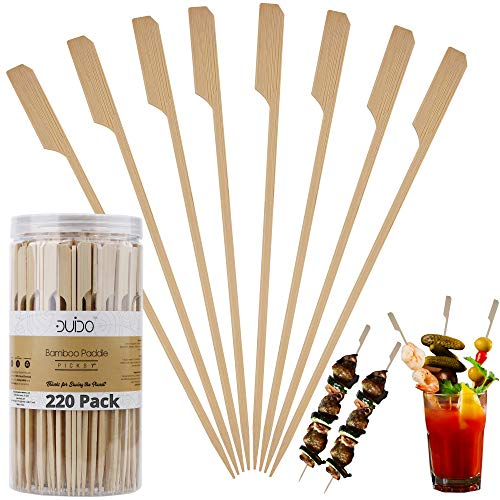 Bamboo Skewers Paddle Wooden Sticks – (Pack of 220) 7 inch Grill Skewers for BBQ/Barbecue Kebab Appetizers Fruit Kabob Fondue Satay Chocolate Fountain – Eco Friendly Natural Long Toothpicks Kabob Skewers for Catering Restaurant Wedding Party Supplies
