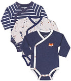 Baby Boy 3-Pack Long-Sleeve Kimono Bodysuit Set, Infant Boy Bundle includes Blue Fox one piece, Arrow Bodysuit and Navy-Striped Outfit.