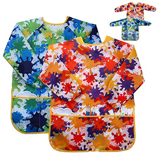 Kids Art Smock Painting Apron - (Pack of 2) Long Sleeve and 2 Pockets for Baking, Eating, Arts & Crafts for Children Ages 2-8 - Waterproof Artist Paint Shirt