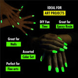 Glow in the Dark Powder - 72 PACK Bulk Party Supplies Favors and Decorations Works Great in addition with Sticks, Necklaces, Glasses, Luminous Pigment Powder Fluorescent UV Neon Dye Dust Glo for Slime