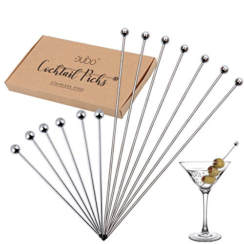 Cocktail Picks Stainless Steel Toothpicks – (4 & 8 inch) 12 Pack Martini Picks Reusable Fancy Metal Drink Skewers Garnish Swords Sticks for Martini Olives Appetizers Bloody Mary Brandied
