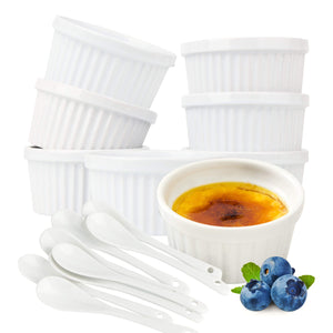 Souffle Dish Ramekins for Baking – 6 Ounce (Set of 8, White with 8 Extra Spoons) 6 Oz, 3.5-inch Ceramic Oven Safe Round Bowl for Creme Brulee Desserts Puddings Custard Cups Ice Cream Lava Cake Snacks