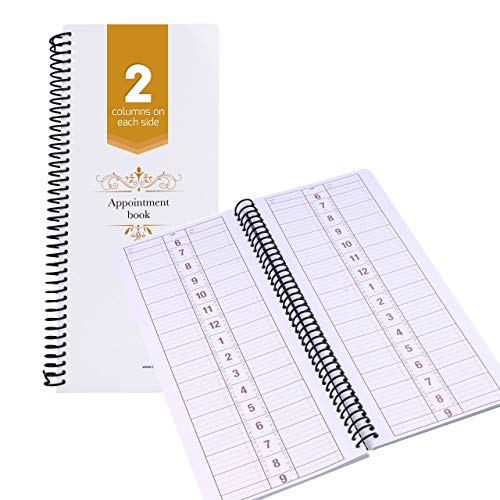 Undated Appointment Book Schedule Reservation - 2 Column 200 Page Appt Book Organizer with Pen Holder - Hourly Weekly Planner Daily Scheduler for Salon Hairdresser Restaurant Spa Stylist