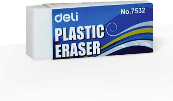 Globaldeli White Pencil Eraser- Pack of 12 Plastic Erasers, Size 2.12