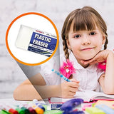 "Globaldeli White Pencil Eraser- Pack of 15 Plastic Erasers, Size 1.89"". Premium Hi-Quality Polymer Eraser. Ideal Bulk Boxy Erasers for Kids, School, Art, Drafting, Office, Home"