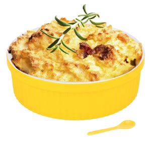 Souffle Dish Ramekins for Baking – 64 Oz, 2 Quart Large Ceramic Oven Safe Round Fluted Bowl with Mini Condiment Spoon for Soufflé Pot Pie Casserole Pasta Roasted Vegetables Baked Desserts (Yellow Set)