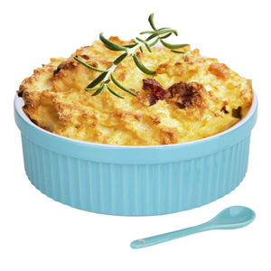Souffle Dish Ramekins for Baking – 32 Oz, 1 Quart Large Ceramic Oven Safe Round Fluted Bowl with Mini Condiment Spoon for Soufflé Pot Pie Casserole Pasta Roasted Vegetables Desserts (Aqua/Green Set)