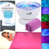 Wave Light Projector for Autism Sensory Toys –Bundle with Purple Compression Sensory Blanket –Features 7 Sensory Lights, 6 Relaxing Sounds with AUX Cable– LED Color Stimulation for Autism Gifts