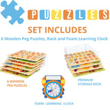 Wooden Toddler Puzzles and Rack Set - (6 Pack ) Bundle with Storage Holder Rack and Learning Clock - Kids Educational Preeschool Peg Puzzles for Children Babies Boys Girls - Alphabet Numbers Zoo Cars