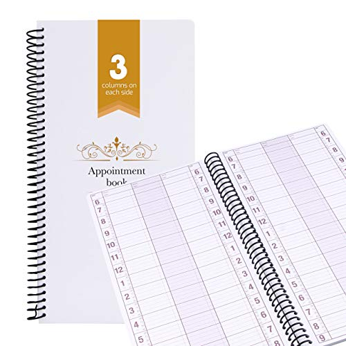 Undated Appointment Book Schedule Reservation - 3 Columns 200 Page Appt Book Organizer with Pen Holder - Hourly Weekly Planner Daily Scheduler for Salon Hairdresser Restaurant Spa Stylist