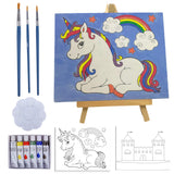 Kids Paint Set and Paint Easel – 14-Piece Acrylic Painting Kit, 6 Non Toxic Washable Paints, 1 Wood Easel, 2 Pre-Stenciled Canvases 8 x 10 inches, 3 Brushes, Palette, Color Mixing Chart Craft Supplies