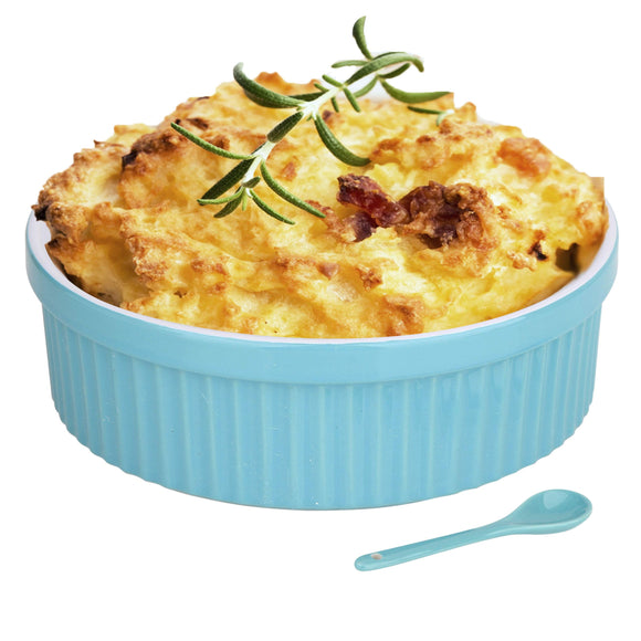 Souffle Dish Ramekins for Baking – 48 Oz, 1 Quart Large Ceramic Oven Safe Round Fluted Bowl with Mini Condiment Spoon for Soufflé Pot Pie Casserole Pasta Roasted Vegetables Desserts (Aqua/Green Set)