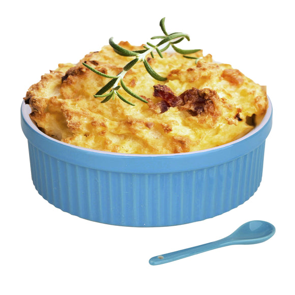 Souffle Dish Ramekins for Baking – 48 Oz, 1 Quart Large Ceramic Oven Safe Round Fluted Bowl with Mini Condiment Spoon for Soufflé Pot Pie Casserole Pasta Roasted Vegetables Baked Desserts (Blue Set)