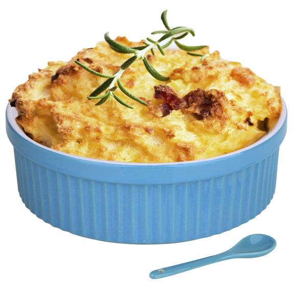 Souffle Dish Ramekins for Baking – 64 Oz, 2 Quart Large Ceramic Oven Safe Round Fluted Bowl with Mini Condiment Spoon for Soufflé Pot Pie Casserole Pasta Roasted Vegetables Baked Desserts (Blue Set)