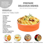 Souffle Dish Ramekins for Baking – 64 Oz, 2 Quart Large Ceramic Oven Safe Round Fluted Bowl with Mini Condiment Spoon for Soufflé Pot Pie Casserole Pasta Roasted Vegetables Baked Desserts (Orange Set)