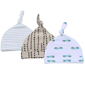 Top Knot Baby Hat 3-Piece Set for Boys Knotted Newborn Infant Beanie Caps Road Trip