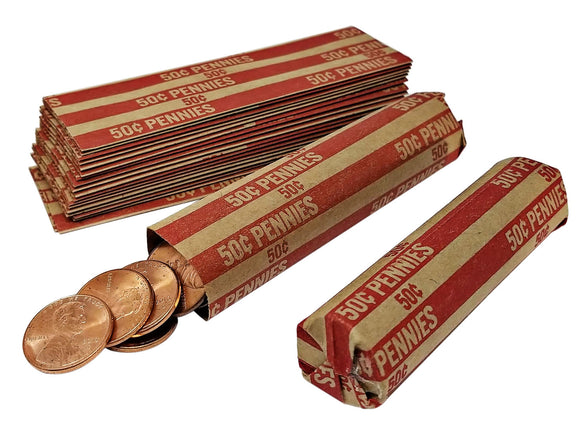 J Mark 100 Penny Coin Roll Wrappers , MADE IN USA, J Mark Coin Deposit Slip, Flat Coin Rollers