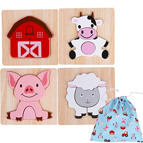 Toddler Wooden Jigsaw Puzzles Chunky – (Pack of 4) Educational Toys for Preschool Kids Ages 1 2 3 year old Boys or Girls Gift with Matching Canvas Bag - Farm Wooden Animals Set Developmental Games
