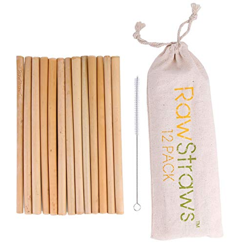 Organic Bamboo Straws Reusable – Multiple Packs Eco Friendly Biodegradable Non Plastic Wood Drinking Straw (12 PACK)