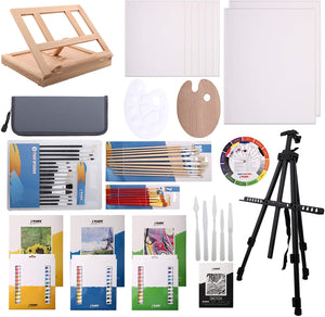 139pc Deluxe Artist Painting Set with Aluminum and Wood Easels, Paint and Accessories