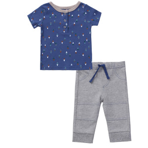Asher & Olivia Boy Outfit Short-Sleeve Shirts and Harem Pant Toddler Clothes Set