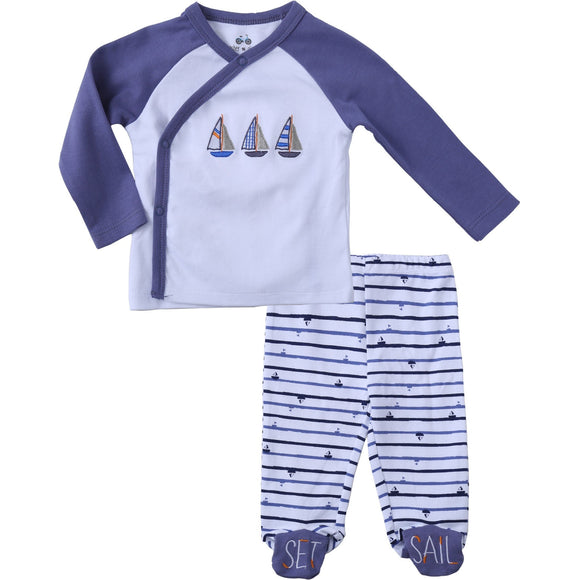 Asher & Olivia Footed Pants Long Sleeve Kimono Shirt 2 Pc Baby Boy Layette Set